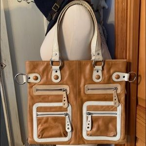 Two tone leather tote bag